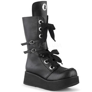 Shoes - Eyelet Gothic Platform Buckle Punk Mid-Calf Boots